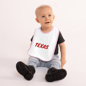 Texas Text Red, Embroidered Baby Bib