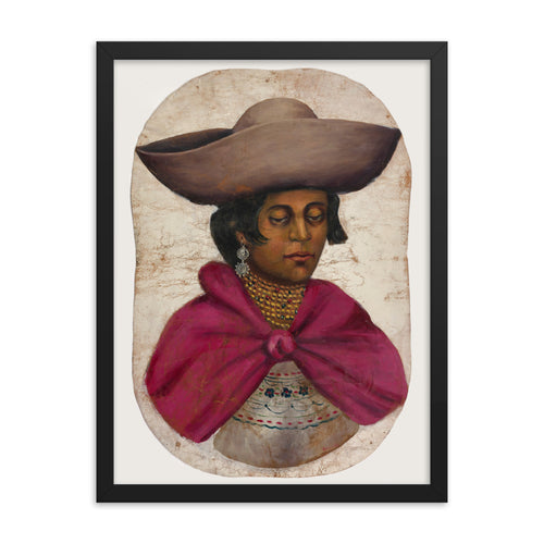 Quechua Indian Woman Oil Painting Framed Poster