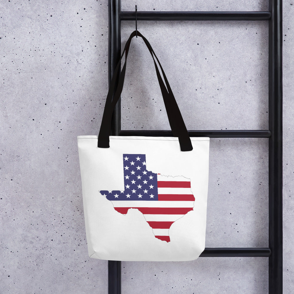 State of Texas Map With US Flag, Tote bag