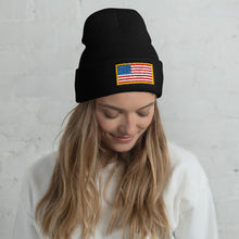 Load image into Gallery viewer, USA Flag Patch Style Printed, Unisex Cuffed Beanie