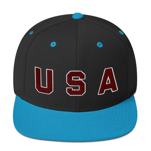 USA Text, Embroidered Snapback Hat