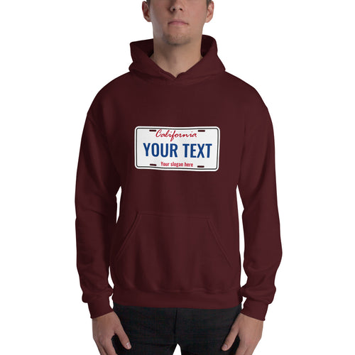 Design Your Own California State License Plate Text, Unisex Hooded Sweatshirt