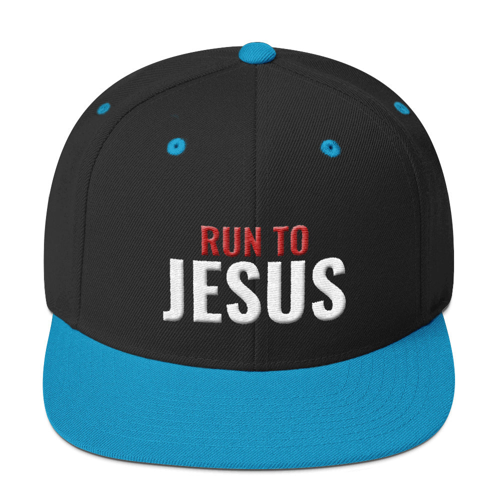Run To Jesus Religious Text 3D Puff, Snapback Hat
