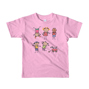 Kids Life Cartoon Style, Kids Fine Jersey Short Sleeve T-Shirt Pink