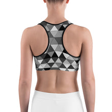Load image into Gallery viewer, Grayscale Triangle Pattern, Sports Bra