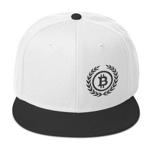 Bitcoin Cryptocurrency Logo Wreath Black, Snapback Hat