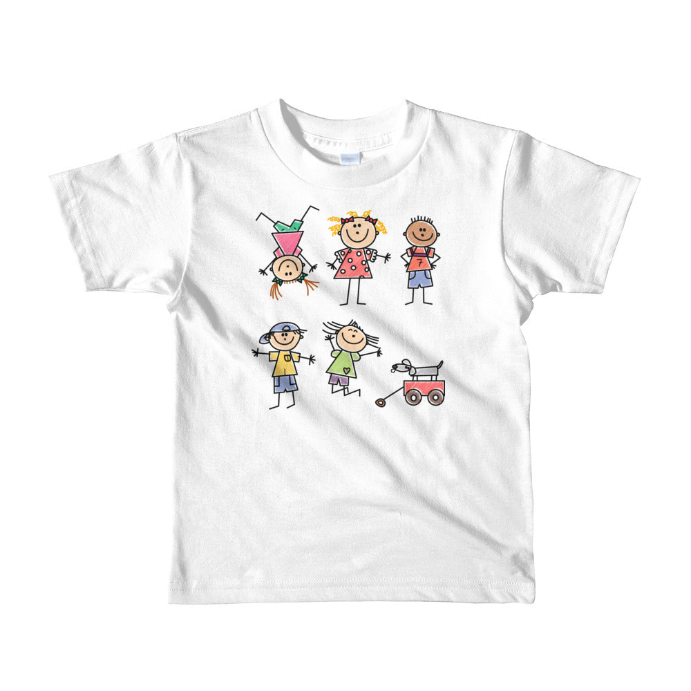 Kids Life Cartoon Style, Kids Fine Jersey Short Sleeve T-Shirt White