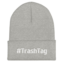 Load image into Gallery viewer, Hashtag TrashTag Text White, Unisex Cuffed Beanie
