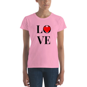 Love Heart, Women's Short Sleeve T-shirt Pink