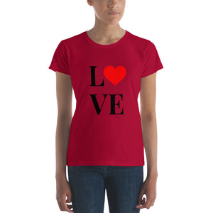 Love Heart 2, Women's Short Sleeve T-shirt Red