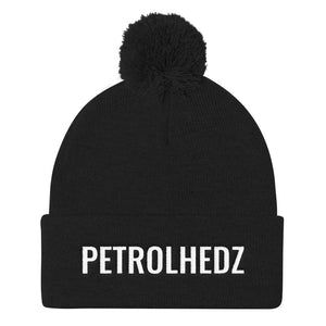 Petrolhedz Text White, Pom Pom Knit Cap