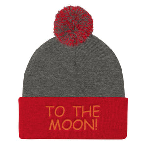 To The Moon! Dogecoin Style Text, Pom Pom Knit Cap
