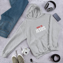 Load image into Gallery viewer, Run To Jesus Religious Text, Unisex Hooded Sweatshirt