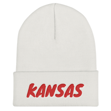 Load image into Gallery viewer, Kansas Text Red, Unisex Cuffed Beanie