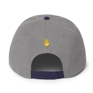 To The Moon! Text 3D Puff With Dogecoin Symbols, Snapback Hat