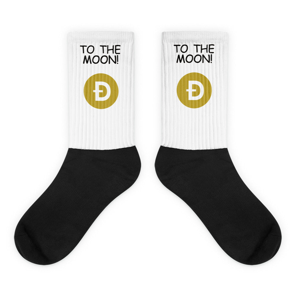 To The Moon! Dogecoin Style Text, Socks