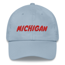 Load image into Gallery viewer, Michigan Text Red, Dad hat