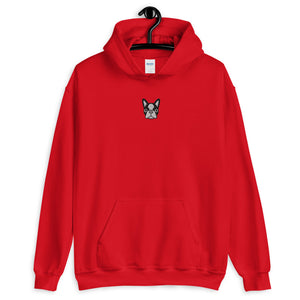 French Bulldog Face, Embroidered Unisex Hoodie