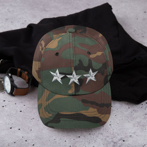 Green Camo 3 Star General Style, Dad hat Unisex