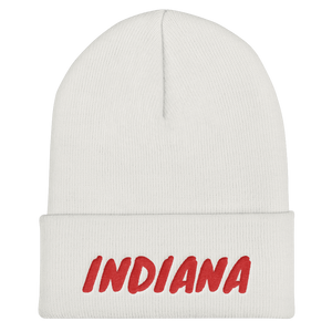 Indiana Text Red, Unisex Cuffed Beanie