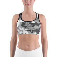 Load image into Gallery viewer, Camouflage Pattern Gray Print, Women's Sports bra