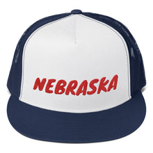 Load image into Gallery viewer, Nebraska Text Red, Trucker Cap