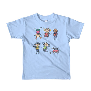 Kids Life Cartoon Style, Kids Fine Jersey Short Sleeve T-Shirt Blue