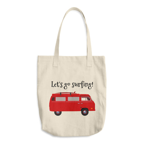 Red Van Let's Go Surfing Text, Bull Denim Woven Cotton Tote