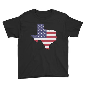 The State of Texas Map With US Flag, Youth Short Sleeve T-Shirt
