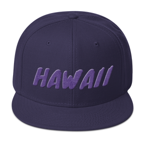 Hawaii Text Purple 3D Puff, Snapback Hat