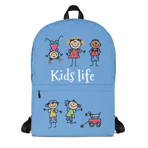 Kids Life Cartoon Style, Backpack Light Blue