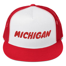 Load image into Gallery viewer, Michigan Text Red, Trucker Cap