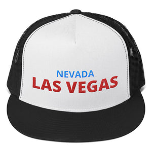 Las Vegas Nevada Red Blue Text, Trucker Cap