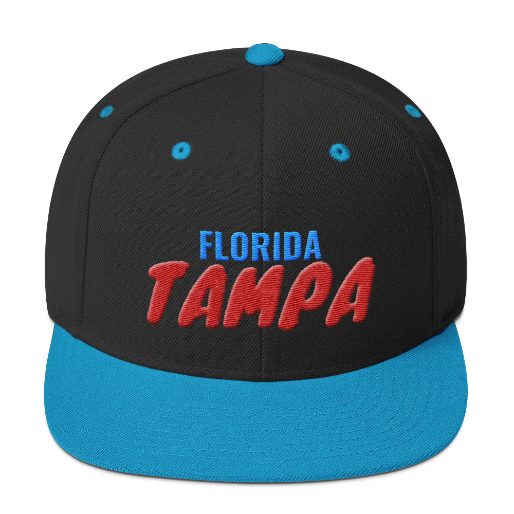 Tampa Florida Text 3D Puff, Snapback Hat