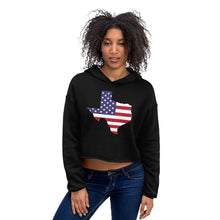 Load image into Gallery viewer, Texas State Map With US Flag, Women's Crop Hoodie