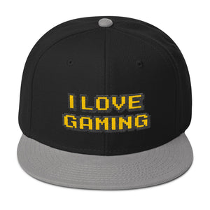 I Love Gaming Text Gold, Wooled Snapback Hat