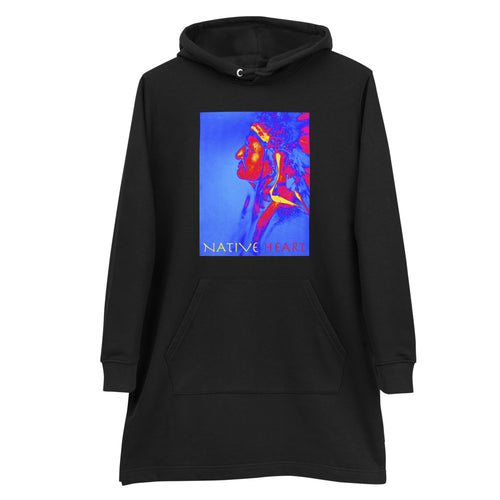 Native Heart American Indian Man Women's Hoodie Dress Black