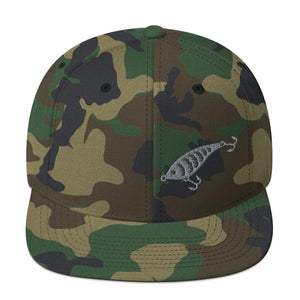 Fishing Lure, Embroidered Snapback Hat Camouflage