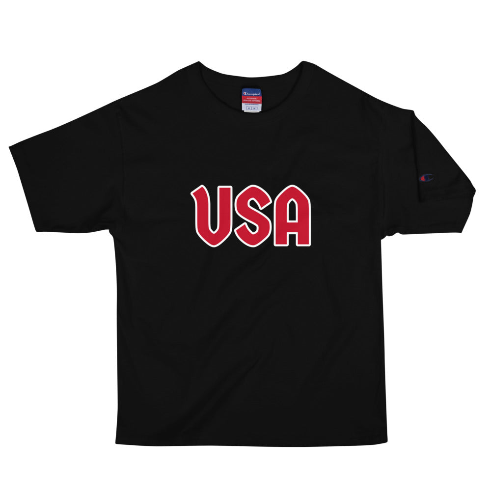 USA Text, Printed Men's Champion Premium T-Shirt
