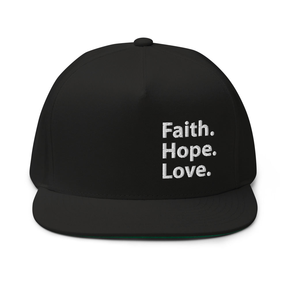 Faith Hope Love, Embroidered Flat Bill Cap