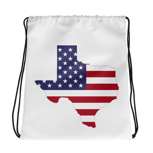 State of Texas Map Wth US Flag, Drawstring bag