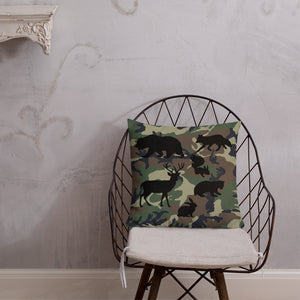Forest Animals Silhouette, Premium Throw Pillow Camo