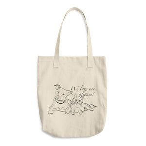 Dog and Cat We Love you Always Text, Denim Woven Cotton Tote Bag
