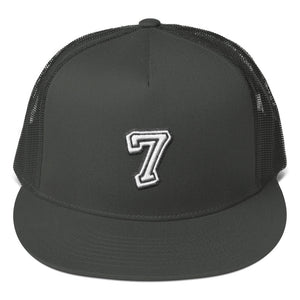 Number 7 Font 2 Partial 3D Puff, Mesh Back Snapback Hat