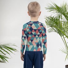 Load image into Gallery viewer, Multicolor Triangle Pattern, Kids Rash Guard