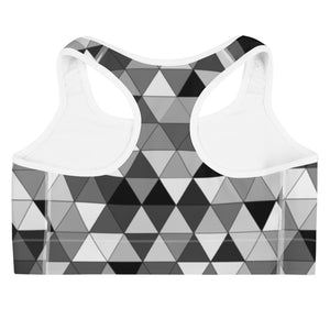 Grayscale Triangle Pattern, Sports Bra