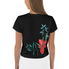 Load image into Gallery viewer, Hand Painted Flowers, Women's Crop Tee Black