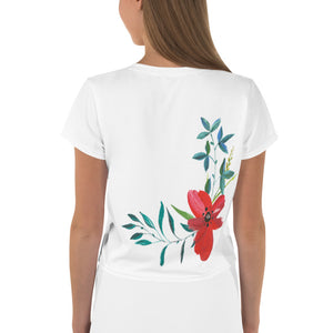 Hand Painted Flowers, Women's Crop Tee White