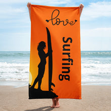 Load image into Gallery viewer, Surfer Babe Love Surfing Text, Beach Towel at beach