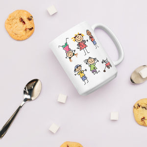 Kids Life Cartoon Style, White Glossy Coffee Mug
